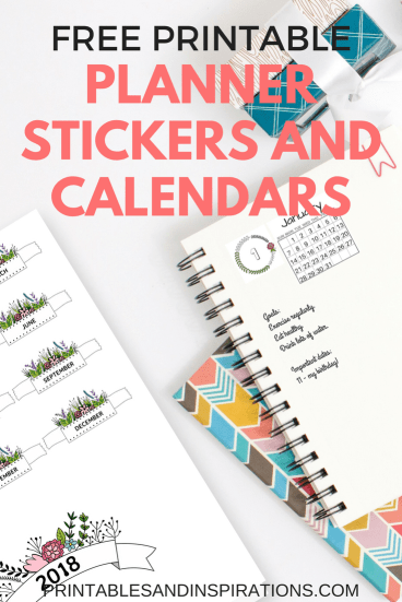 2019 Free Printable Planner Stickers And Calendars