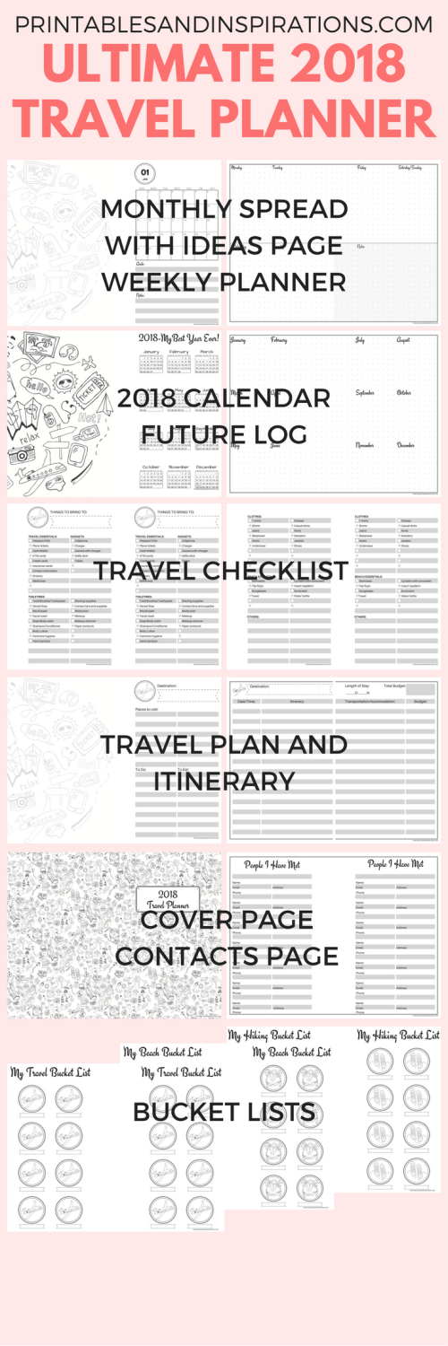 Free printable 2018 calendar, half size planner, 2018 monthly planner printables, weekly planner, travel planner, travel printables, travel checklist, bucket list, bullet journal layout, travel itinerary