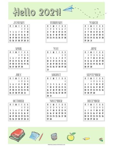 Free printable 2021 calendar #printablesandinspirations #backtoschool