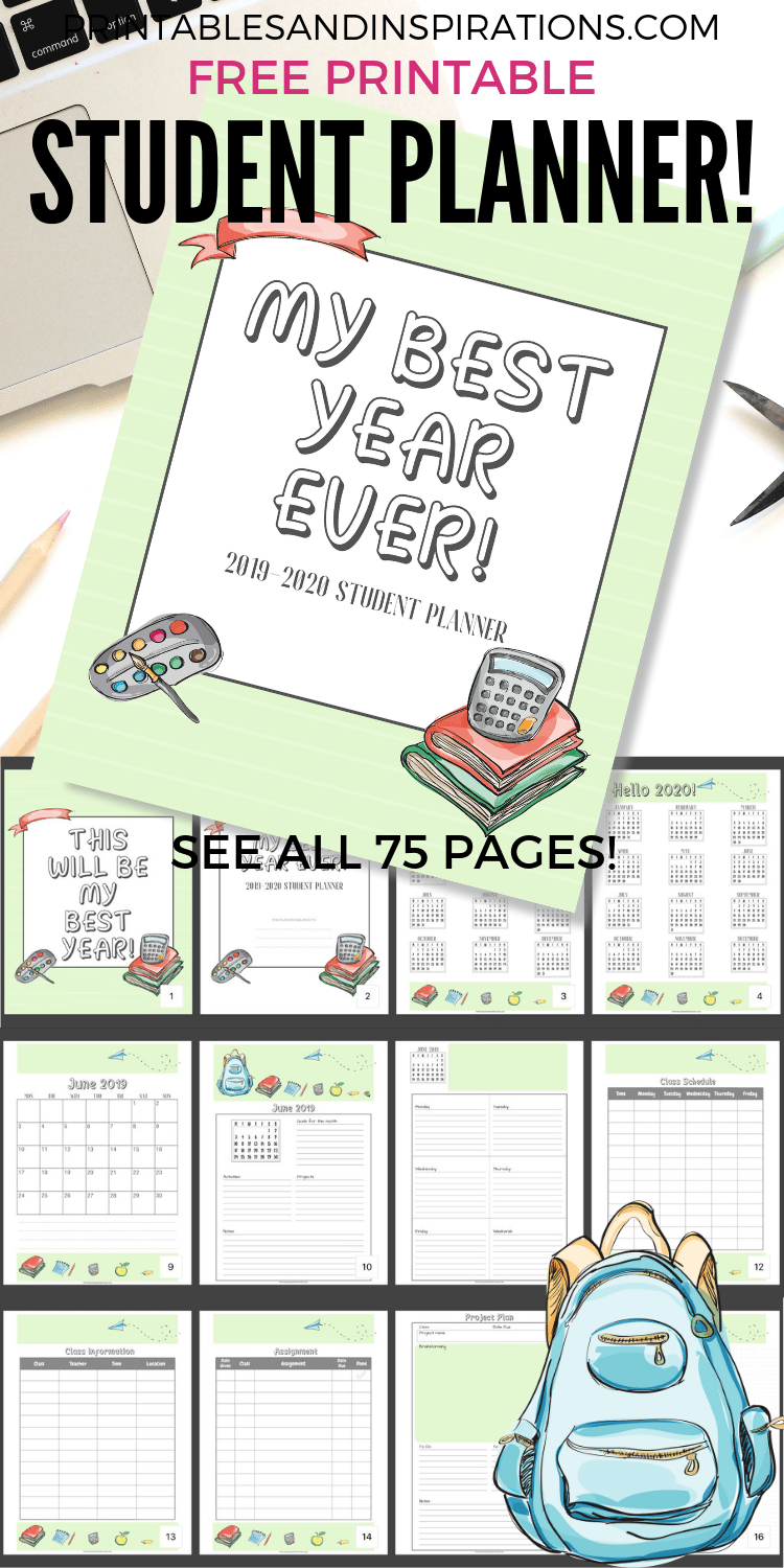 This is a picture of Gargantuan Student Planner Printable