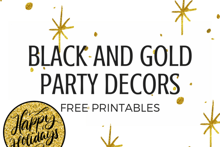 new year party decorations, holiday decor in black and gold, cupcake toppers, new year decor, buntings, free printable decorations