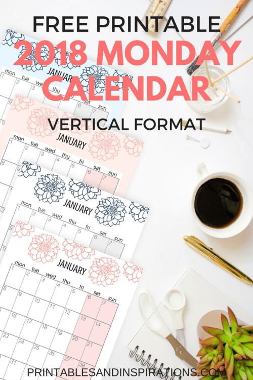 Vertical 2018 Monday calendar, Monday start calendar 2018, Monday to Sunday calendar 2018, calendar week starting on Monday