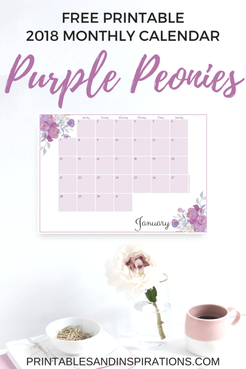 2018 color of the year calendar free printable, 2018 calendar monthly planner, ultraviolet monthly calendar