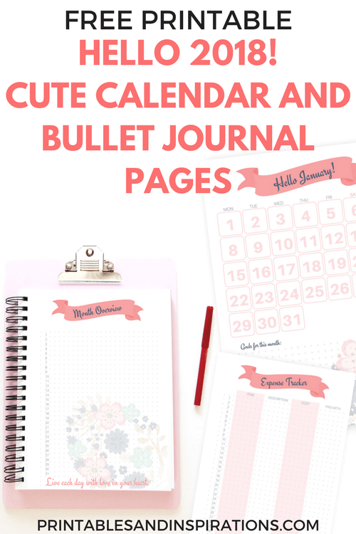 Hello 2018 Cute Calendar And Bullet Journal Printable Planner Pages