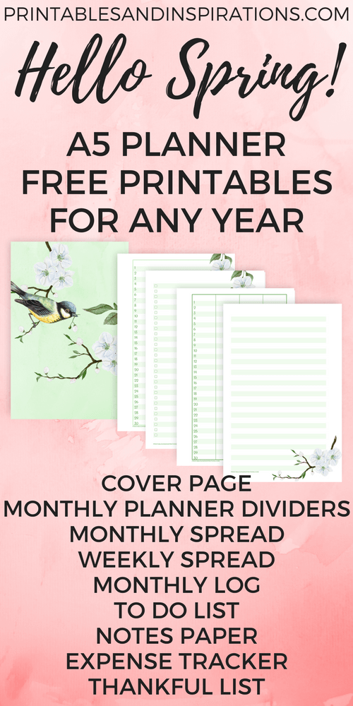 Free A5 planner printables, Free printable planner pages, half size planner, mini planner, weekly planner spread, monthly planner spread, monthly planner dividers, March bullet journal layout, printable bullet journal pages, spring design, to do list, expense tracker, monthly log