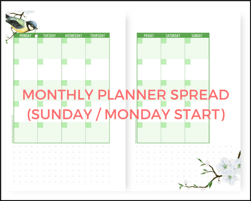 Free A5 planner printables, Free printable planner pages, half size planner, mini planner, monthly planner spread, March bullet journal layout, printable bullet journal pages, spring design,