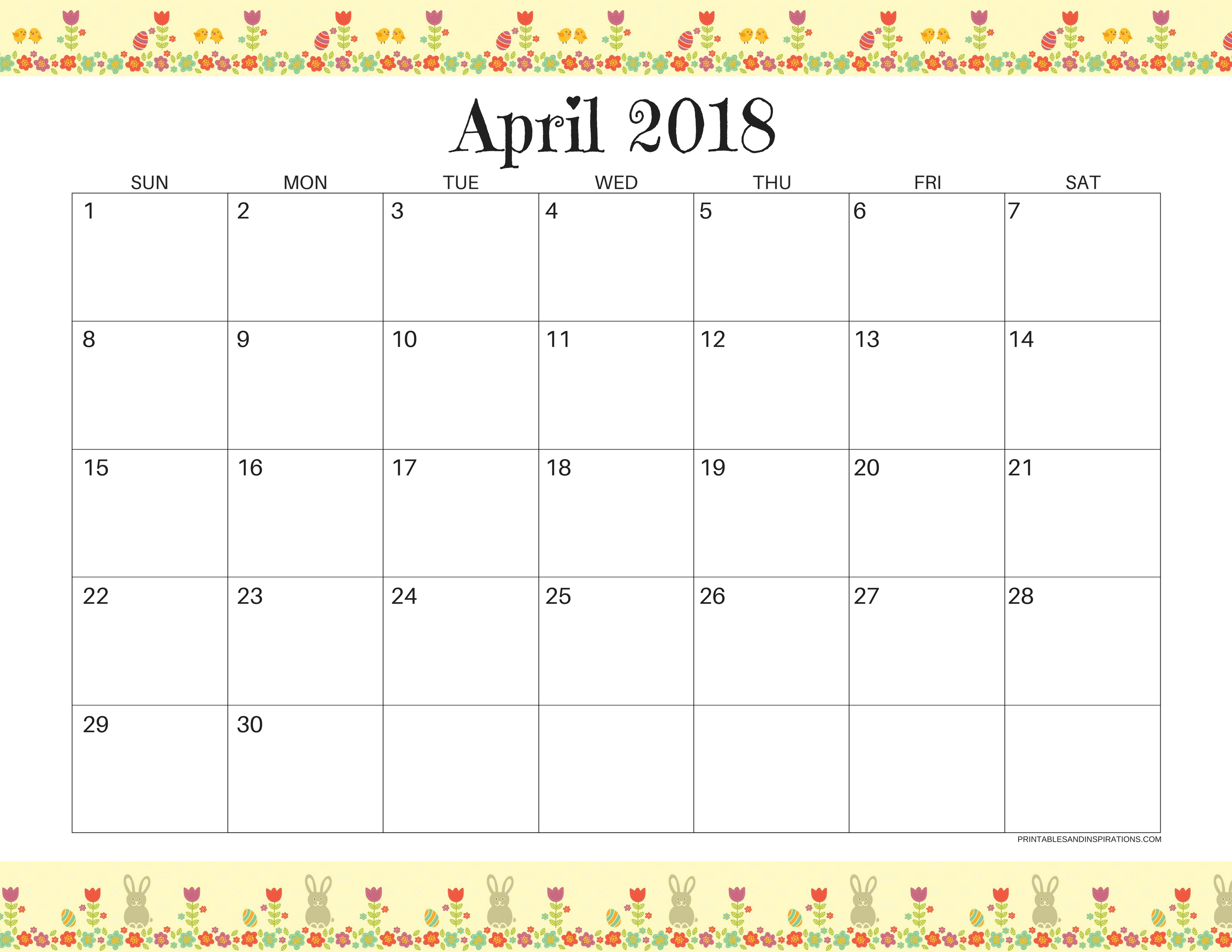 picture relating to Free Printable April Calendar titled April 2018 Calendar - No cost Printables For Your self! - Printables