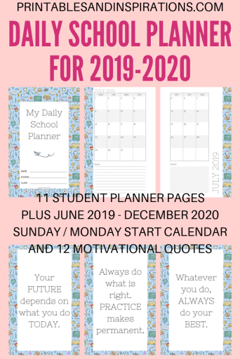 2019-2020 daily school planner for kids - printable student planner plus 2019 to 2020 calendar and motivational quotes for kids. #backtoschool #printablesandinspirations #dailyplanner
