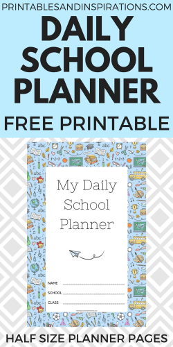 2020 2021 Free printable daily school planner for kids - printable student planner with class schedule, calendar spread, assignments page, blank notes page and school doodles design. #backtoschool #freeprintable #printablesandinspirations #dailyplanner