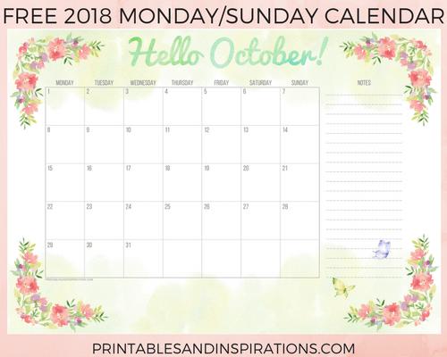 Monthly calendar 2018 free printable, 2018 printable calendar, 2018 monthly planner, A5 planner printable, BULLET JOURNAL calendar, monthly spread, printable monthly calendar, free calendar, planner printable