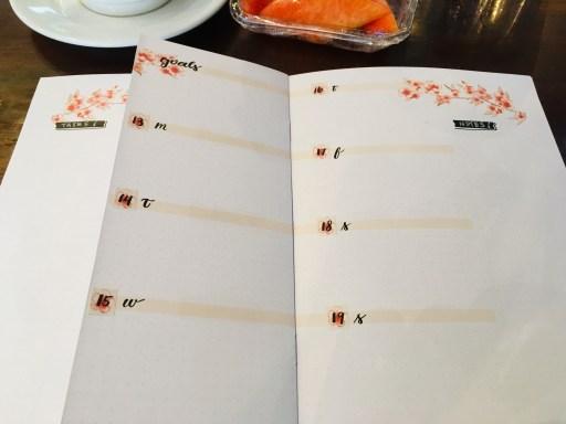 Cherry blossoms bullet journal weekly spread dutch door layout ideas - free printable planner pages. #diyplanner #freeprintable #printablesandinspirations #bulletjournal #bujoideas #weeklyspread #dutchdoor #cherryblossoms #sakura