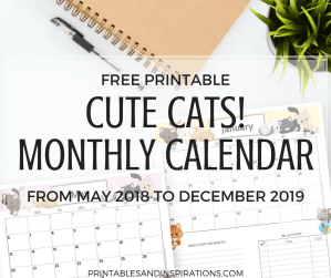 free printable monthly calendar, cute printable monthly calendar 2018 2019, cute cats calendar, free cats monthly planner, cute monthly planner 2018 2019