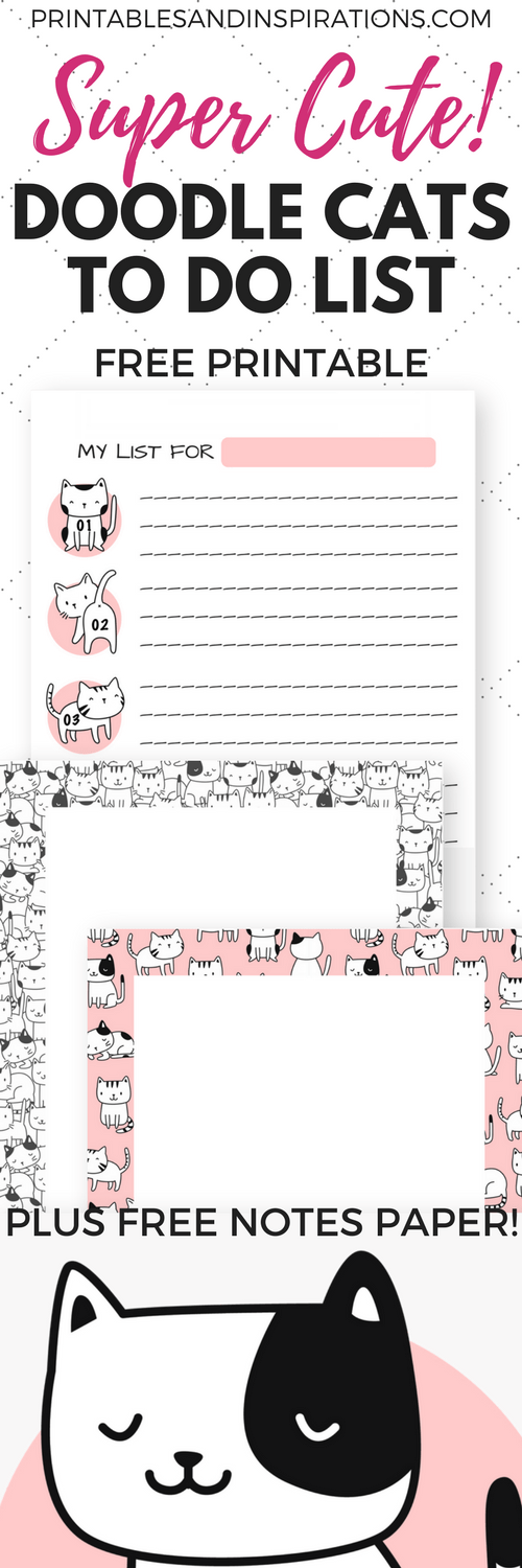 Cute Free Printable To Do List Doodle Cats Printables And