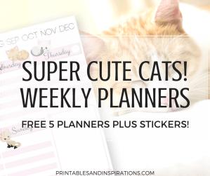 Cute cats weekly planner, free printable weekly planner, cute weekly planner printables, week planner PDF, weekly spread,