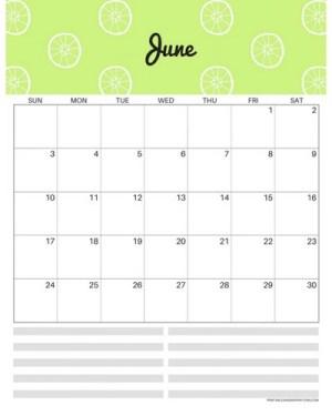 Free printable June 2018 monthly calendar, free 2018 calendar, cute June 2018 calendar