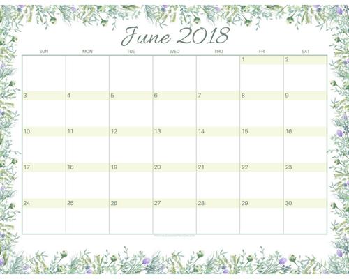 Free printable June 2018 monthly calendar, free 2018 calendar, cute June 2018 calendar, watercolor