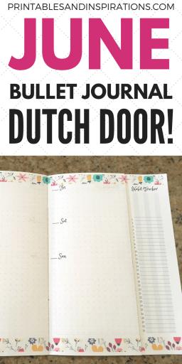 June bullet journal layout, Dutch doors, June bujo ideas, bujo inspiration