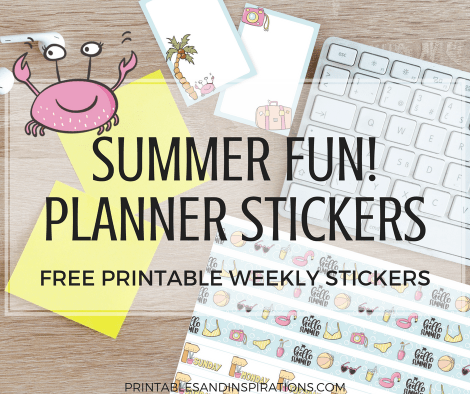 free summer stickers, cute summer planner stickers, free printable stickers, free stickers for scrapbooking or bullet journal