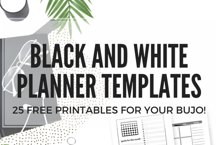 Free bullet journal printables, black and white planner templates, A5 planner printables for any bullet journal layout!