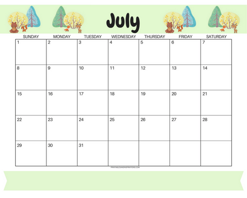 Get your free printable July 2018 monthly calendar here! Choose your favorite July calendar and plan a great month. #freeprintable #printableplanner calendar for kids, forest animals