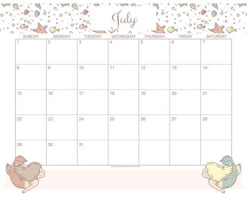 Get your free printable July 2018 monthly calendar here! Choose your favorite July calendar and plan a great month. #freeprintable #printableplanner cute calendar, mermaid calendar