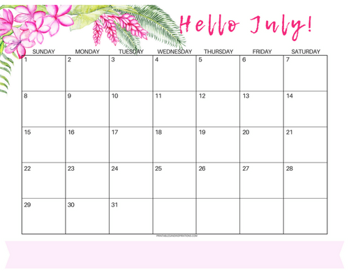 Get Your Free Printable July 2018 Monthly Calendar With Monday