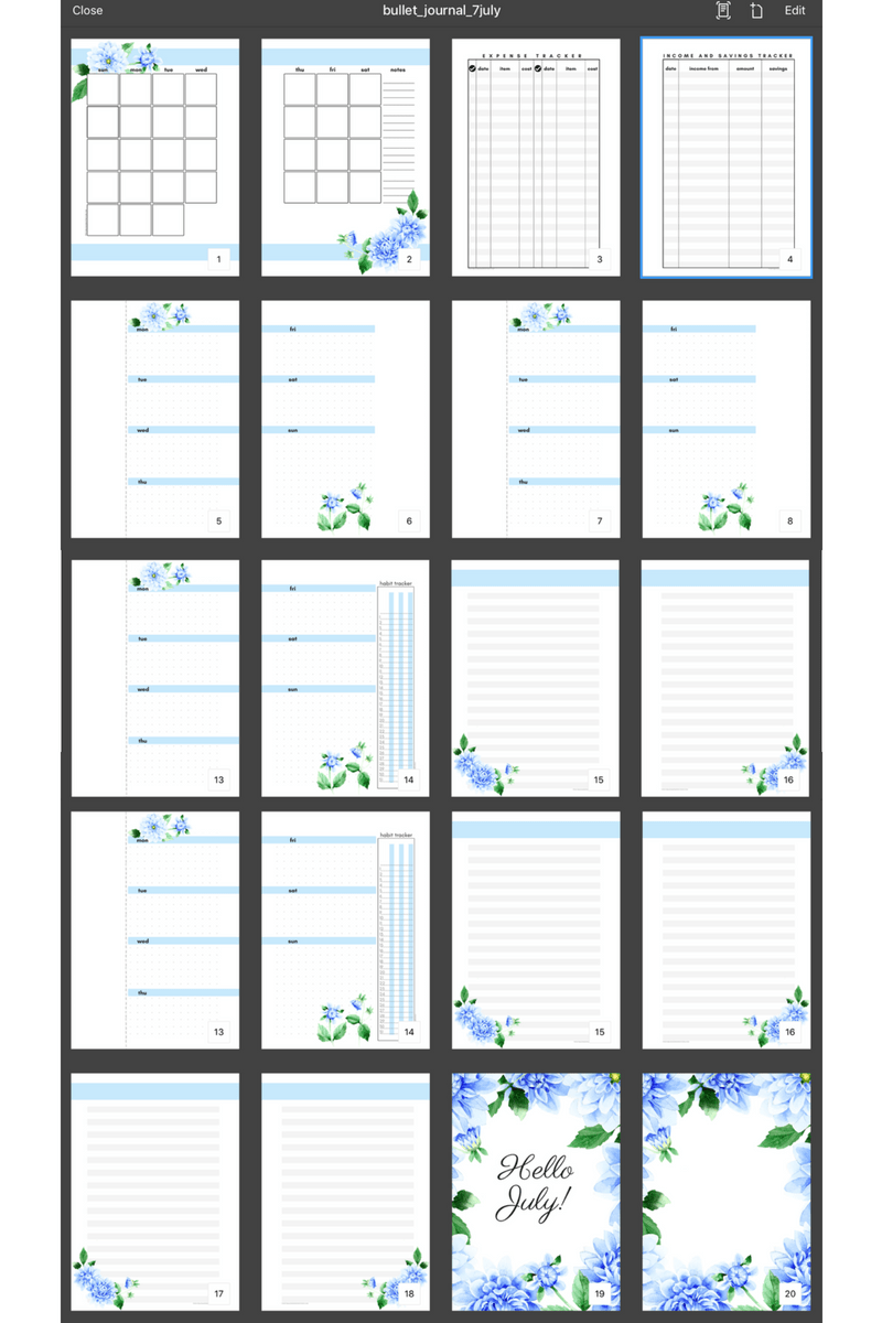 Here's my July bullet journal booklet. Quick tutorial how I prepared my bullet journal spreads plus the free printable that you can download. #bulletjournal