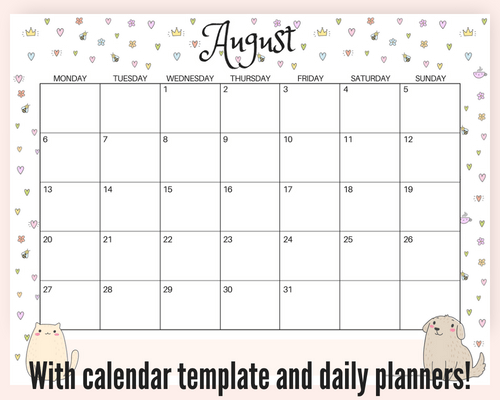 Free August 2018 monthly calendar cute design, plus free printable weekly or daily planners, and blank calendar templates! #freeprintable #printableplanner