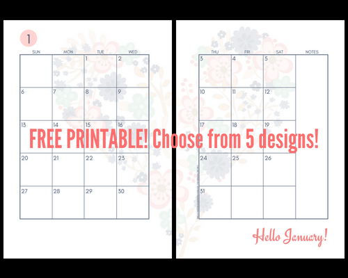 Cute 2019 Monthly Calendar Two Page Spread - Free Printable! Two pages per month 2019 planner. Choose from cute, fresh, pretty and simple designs! #freeprintable