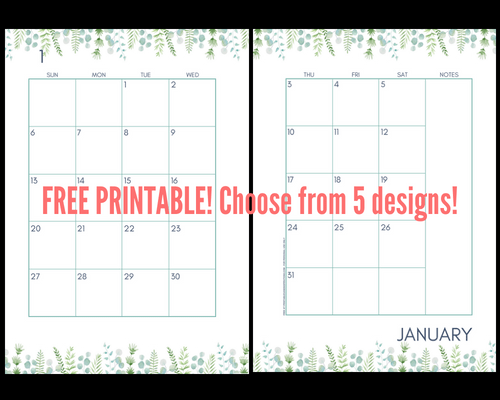 Green leaves 2019 Monthly Calendar Two Page Spread - Free Printable! Two pages per month 2019 planner. Choose from cute, fresh, pretty and simple designs! #freeprintable