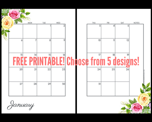 2019 Monthly Calendar Two Page Spread - Free Printable ...