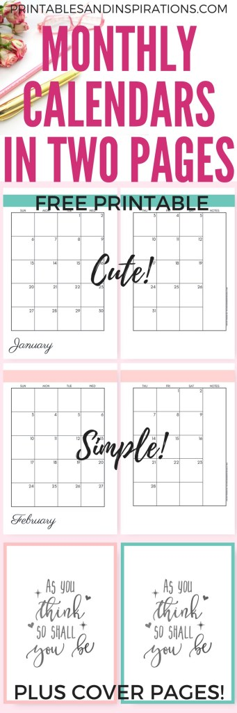 2019 Monthly Calendar Two Page Spread - Free Printable! - Printables