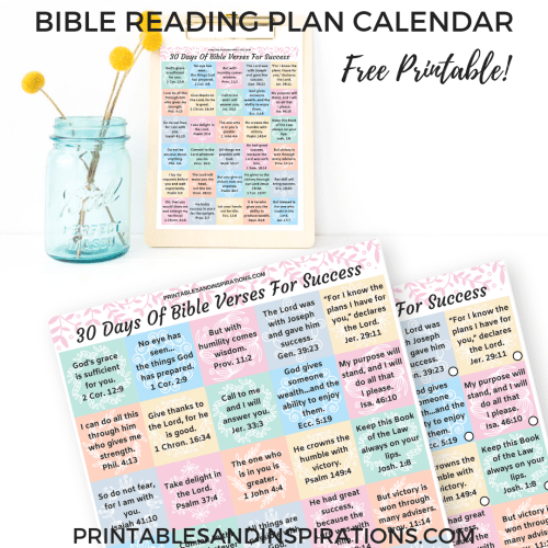 Daily Bible Reading Plan Calendar Free Printable! For Bible journaling or Bible study. Use as Bible verse of the day guide or cut into planner stickers. #Bibleverse #freeprintable #Biblejournaling