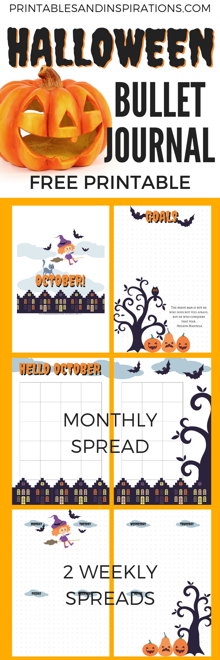 Halloween Bullet Journal Setup For October! Free printable Halloween themed planner pages for your bujo inspiration. Weekly spread, monthly spread, goals page and title page. #bulletjournal #bujoideas #freeprintable