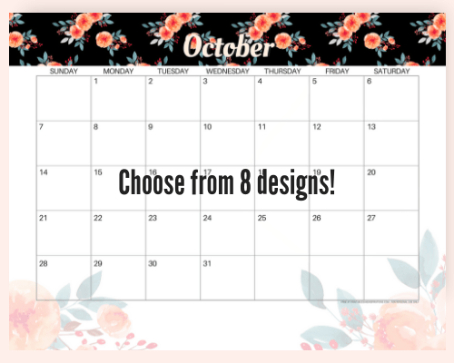 FREE October Calendar 2018! Printable October monthly planners for an awesome month. 8 cute and floral calendar, with a Halloween calendar. Get your free download now! #freeprintable