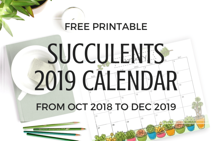 FREE Succulents Cute Calendar For 2019! Printable monthly calendar planner with a fresh green look. Happy planning! #freeprintable #printableplanner