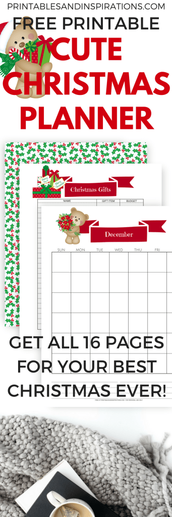 FREE Christmas Planner Printable - Choose from 2 sets of Christmas planner pages plus December monthly calendar.