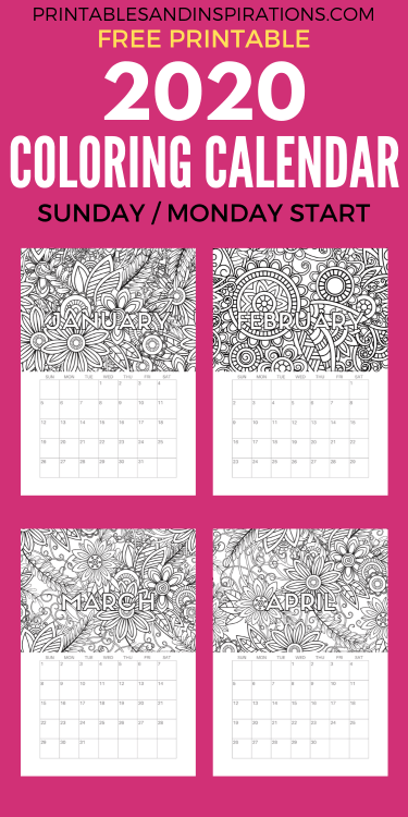 Free Printable 2020 Coloring Calendar Pages | Free calendar, Free ... | 750x375