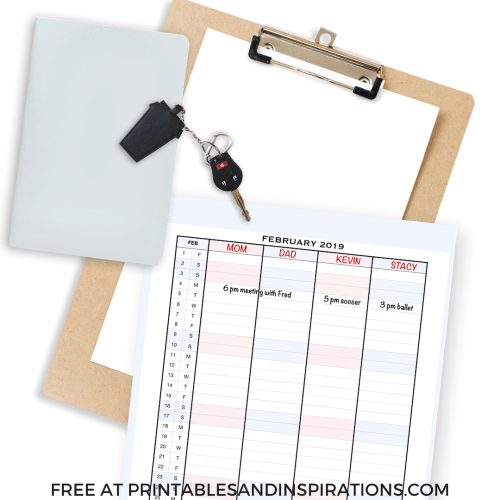 Free Printable Activity Tracker Template with 2019 CALENDAR!