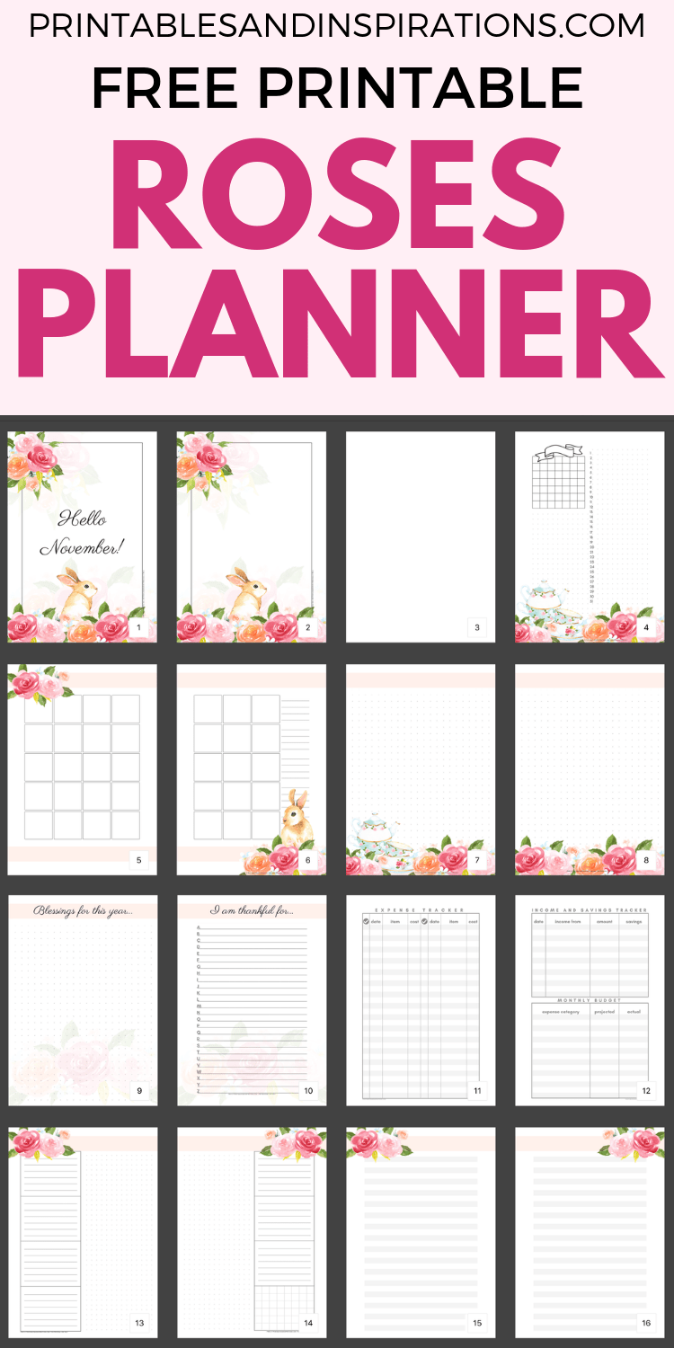 Free Printable Roses Bullet Journal Layout For November And Any Month - Roses printable planner pages with monthly spread, weekly spread, dotted paper and more ideas your bujo inspiration. Get your free download now! #bulletjournal #printableplanner #freeprintable #printablesandinspirations