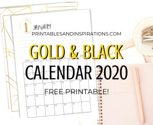 Free Printable 2020 Calendar PDF In Gold And Black - monthly calendar planner with space for monthly goals. Get your free download now! #freeprintable #printablesandinspirations #gold #2020