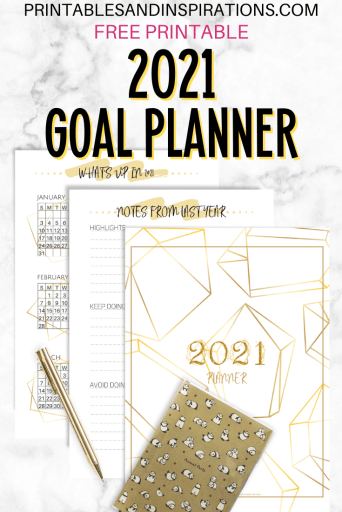 Free Printable 2021 Goal Setting Planner PDF - best goal setting journal for your DIY planner, goals planner, passion planner. #freeprintable #printablesandinspirations #goalsetting #diyplanner #planneraddict