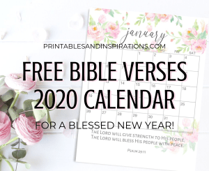 Free Bible Verse Calendar Printable For 2020! Free printable planner with Bible verses. Sunday or Monday calendar version. Free download now! #freeprintable #Bibleverses #printablesandinspirations