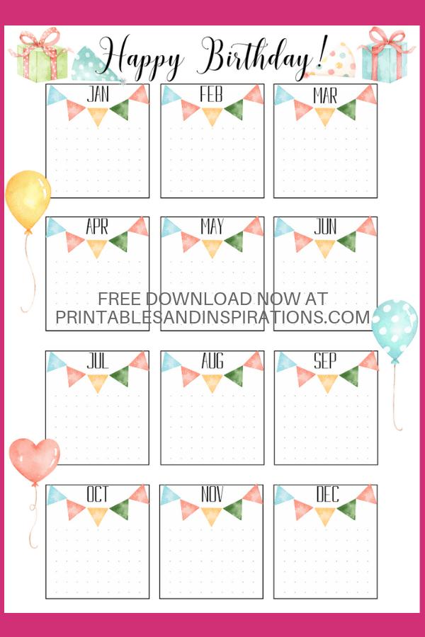 Bullet Journal Birthday Printable! Free printable birthday collections page for your bujo or memo board. #freeprintable #bulletjournal #bujoideas #printablesandinspirations