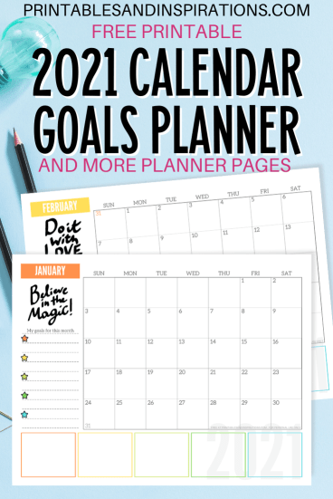 Free 2021 Monthly Goals Calendar Printable Planner! Get this free printable 2021 calendar with space for monthly goals and tasks, plus motivational quotes. Free download now! #freeprintable #printableplanner #printablesandinspirations #goalsetting #motivationalquotes