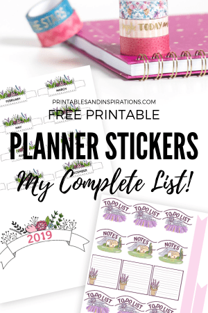 Free Planner Stickers For Your Bullet Journal! Free printable stickers, days of the week, month labels, water tracker, mood tracker stickers and more bullet journal printables. Free download now! #printablestickers #freeprintable #bulletjournal #bujoideas #bujotheme #printablesandinspirations