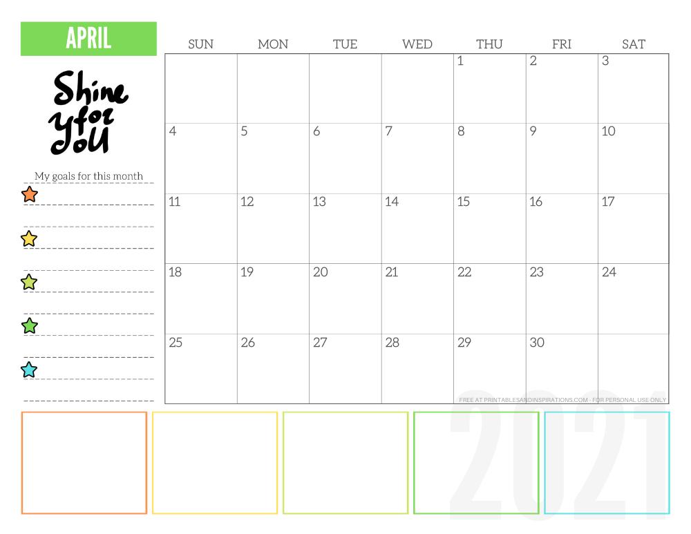 April 2021 goals calendar planner - free printable monthly calendar #printablesandinspirations #freeprintable #goalsetting SEE PREVIOUS POST TO DOWNLOAD THE FREE PDF FILE