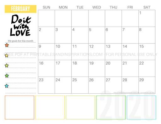 Free Printable February 2020 Calendar PDF #freeprintable #printablesandinspirations #motivationalquotes #stars #reachforthestars