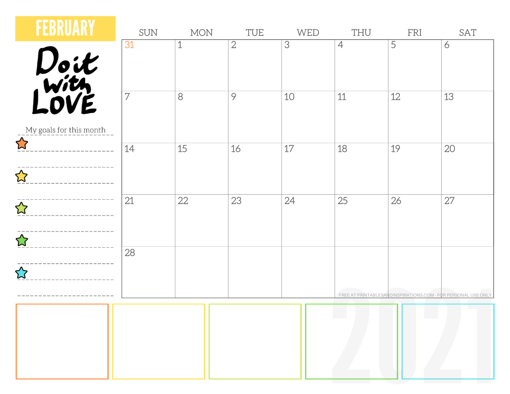 February 2021 goals calendar planner - free printable monthly calendar #printablesandinspirations #freeprintable #goalsetting SEE PREVIOUS POST TO DOWNLOAD THE FREE PDF FILE
