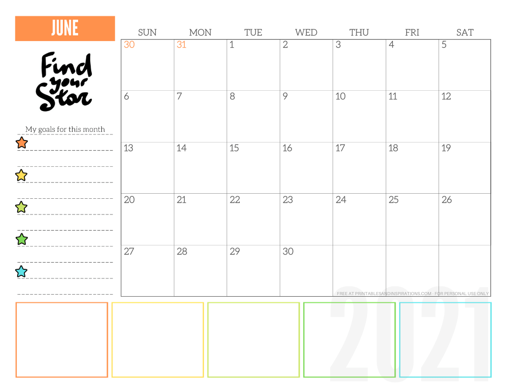 June 2021 goals calendar planner - free printable monthly calendar #printablesandinspirations #freeprintable #goalsetting SEE PREVIOUS POST TO DOWNLOAD THE FREE PDF FILE
